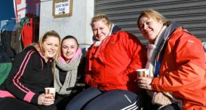 Denise Slattery, Donna Flemming, Caroline Halvey and Rachel Hannan pictured queuing for Garth Brooks t ickets in Limerick yesterday.Photograph: Brian Gavin Press 22