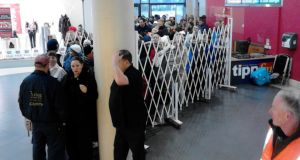 Front of the queue for Garth Brooks tickets at Easons in Thurles Shopping Centre this morning.