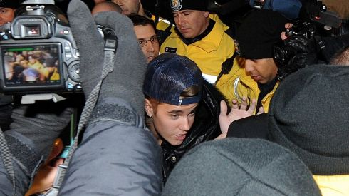 Justin Bieber appears at a police station in connection with an alleged criminal assault on January 29th, 2014 in Toronto, Canada.  Photograph: Jag Gundu/Getty Images