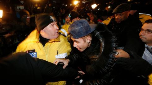 Bieber arrives at a police station in Toronto. Photograph: Alex Urosevic/Reuters