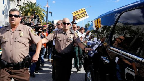 Members of the media and police surround the motorcade as pop singer Justin Bieber is escorted out of the Turner Guilford Knight Correctional Center in Miami, Florida January 23rd, 2014. Bieber was arrested in South Florida early on January 23rd on a drunken driving charge after he was caught drag racing on a main thoroughfare in a rented yellow Lamborghini, police said. Photograph: Javier Galeano/Reuters