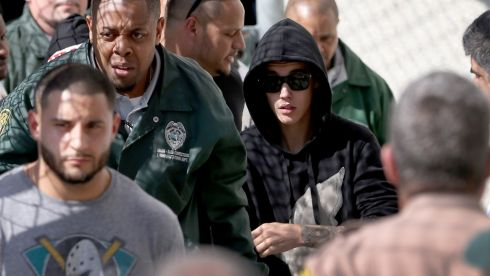 Bieber exits from the Turner Guilford Knight Correctional Center. Photograph: Joe Raedle/Getty Images