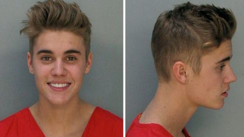 A handout combination of booking images released by the Miami-Dade Corrections & Rehabilitation Dept. showing Canadian singer Justin Bieber who was arrested early in the morning of January 23rd on charges of driving under the influence, driving with an expired licence and resisting arrest. Photograph: Miami-Dade Corrections & Rehabilitation Dept/EPA