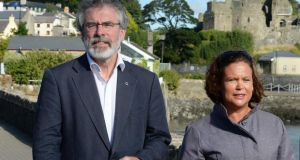 Right hand woman: Sinn Féin president Gerry Adams with Mary Lou Mc Donald in Carlingford, Co Louth, last year. Photograph: Cyril Byrne