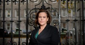 Mary Lou McDonald outside Leinster House in Dublin.  Photograph: Alan Betson