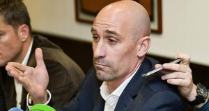 Luis Rubiales, president of the Association of Spanish Footballers (AFE), gestures during a press conference following a meeting with  Racing Santander players ahead of their Copa del Rey game against Real Sociedad. Photograph: Pedro Puente Hoyos/EPA