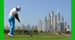 Rory McIlroy  on the eighth tee during the first round of the Omega Dubai Desert Classic on the Majlis course at the Emirates Golf Club in Dubai, United Arab Emirates. Photograph:  Ross Kinnaird/Getty Images