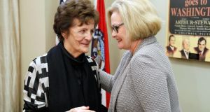 Philomena Lee  and Senator Claire McCaskill  meet to discuss the  new adoption initiative.