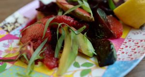 Avocado and roast beetroot salad with blood orange