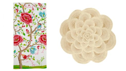 Morning glory towel, €37, Pip Studio at Amara.com Round floral rug, €192, Next