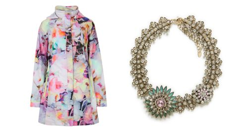 Electric daydream parka, €215, Ted Baker Crystal flower necklace, €7.99, Zara