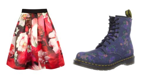 Rose on canvas print skirt, €165, Ted Baker Vintage bouquet floral boots, €38, Dr. Marten at Office