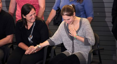 Then acquitted of murder charges in Italy, Amanda Knox is comforted by her mother, Edda Mellas, upon arrival at Seattle-Tacoma Airport in SeaTac, Washington, US, on October 4th, 2011. Photograph: Michael Hanson/The New York Times