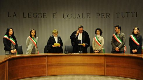 Presiding judge Alessandro Nencini (centre) reads the judgment of the Court of Appeals for the verdict of the Amanda Knox and Raffaele Sollecito retrial, Florence, on January 30th, 2014. Photograph: Maurizio Degl'Innocenti/EPA