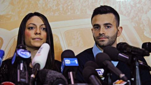 Meredith Kercher's sister Stephanie and brother Lyle Kercher speak during a press conference in Florence, Italy, after Amanda Knox and Raffaele Sollecito were found guilty of Meredith Kercher's murder. Photograph: Maurizio Dgle' Innocenti/EPA