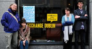 Volunteers  Paul Gay, Elsa Isnard, Aggie Bryla and Philip Kenny  outside the Exchange collective arts centre in Temple Bar, which is being closed down. Photograph: Aidan Crawley