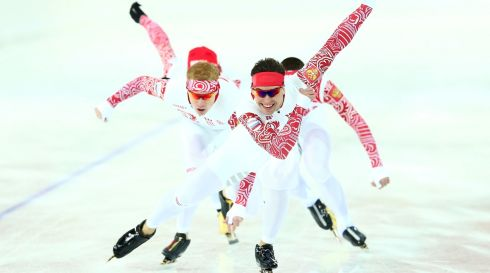 Members of the Russian Speed Skating team amid a training session. Photograph: Quinn Rooney/Getty Images