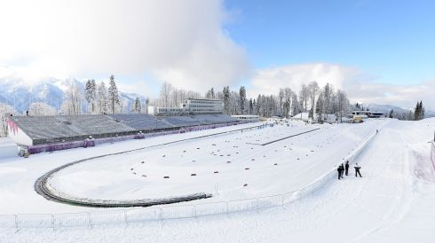 View of the Laura Cross Country Skiing venue, Krasnaya Polyana, as Russia prepares for the the Sochi 2014 Olympic Games.  Photograph: Filip Singer/EPA