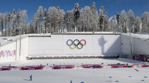 View of the shooting range in the Laura Cross Biathlon Centre. Photograph: Filip Singer/EPA