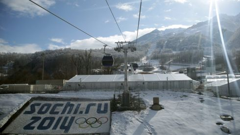 Cablecars run near the Sanki Sliding Centre in the mountain cluster in Krasnaya Polyana. Photograph: Michael Kappeler/EPA