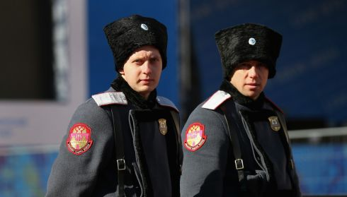 Police patrol the Rosa Khutor Mountain village cluster. Photograph: Alex Livesey/Getty Images