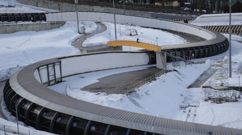 The Sanki Sliding Centre in the mountain cluster in Krasnaya Polyana.Photograph: Michael Kappeler/EPA