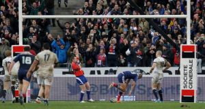 France's Gael Fickou scores the winning a try against England. Photograph: Gonzalo Fuentes/Reuters