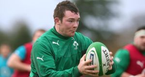 Peter O'Mahony amid Ireland rugby squad training ,  at Carton House, Co .  Kildare, on Friday.  Photograph: Dan Sheridan/Inpho