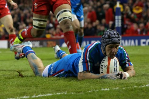 Italy's Michele Campagnaro goes over for his first try against Wales. Photograph: Giuseppe Fama/Inpho