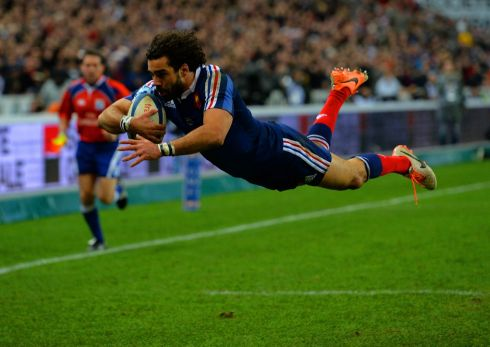 And Huget goes over to score France's second try. Photograph: Shaun Botterill/Getty Images