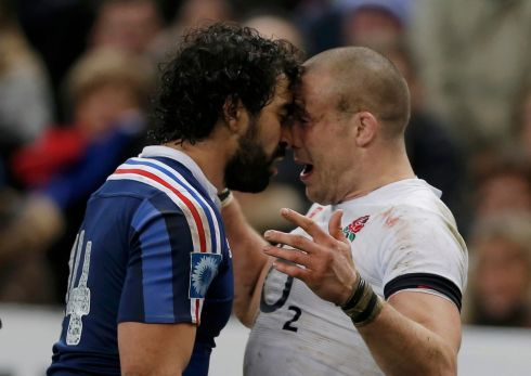 Yoann Huget and Mike Brown exchange views during the match. Photograph: Gonzalo Fuentes/Reuters