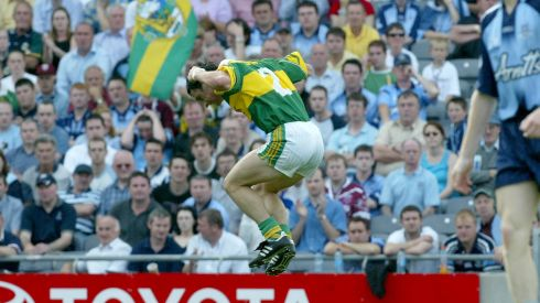 Galvin celebrates scoring a point against Dublin in the 2004 All-Ireland quarter-final. Photograph: Morgan Treacy/Inpho