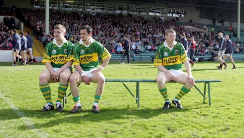 Eamonn Fitzmaurice, Paul Galvin and Tomas O'Se wait for the team photo before the 2006 National Football League final. Photograph: Lorraine O'Sullivan/Inpho