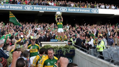 Galvin stands aloft with the Sam Maguire following the victory over Cork in 2007. Photograph: Matt Kavanagh/The Irish Times