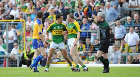 Galvin exchanges views with team-mate Tomas O'Se after being sent off by referee Paddy Russell during the 2008 Munster championship. Photograph: Stephen McCarthy/Sportsfile