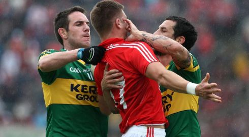 Cork's Eoin Cadogan with Declan O'Sullivan and Galvin in the 2010 Munster semi-final replay. Photograph: Dan Sheridan/Inpho