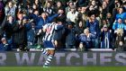 West Bromwich Albion's Victor Anichebe celebrates after scoring the equaliser. Photograph:  Darren Staples/Reuters
