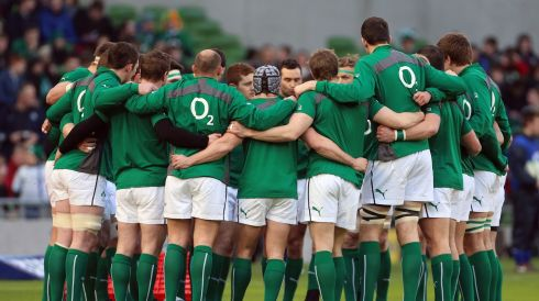 The Ireland team listen to jamie Heaslip before the match. Photograph: Niall Carson/PA Wire