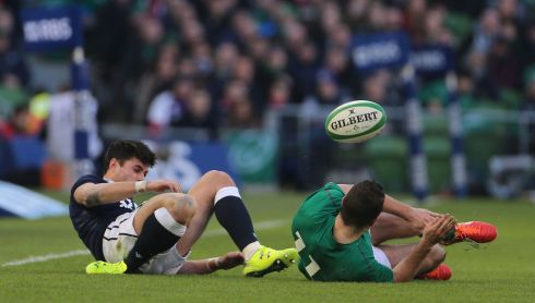 Scotland's Sean Maitland falls badly on his ankle forcing him from the pitch. Photo: Niall Carson/PA Wire