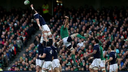 Ireland's Devin Toner contests the lineout against Scotland's Ryan Wilson. Photograph: Brian Lawless/PA Wire