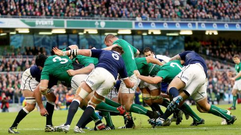 Ireland maul over the line for Jamie Heasip to score the second try. Photograph: James Crombie/Inpho
