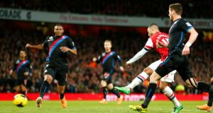Arsenal's Alex Oxlade-Chamberlain the second goal against Crystal Palace. Photograph: Eddie Keogh/Reuters