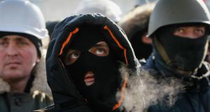 Anti-government protesters at a rally in Independence Square in Kiev yesterday. Photograph: Reuters/Gleb Garanich