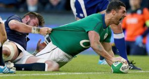 Rob Kearney scores his try, Ireland's third. Photograph: INPHO/Dan Sheridan