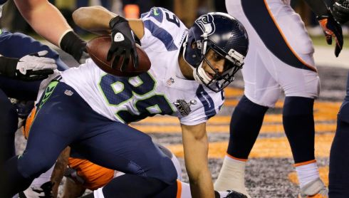 Touchdown! Seattle Seahawks wide receiver Doug Baldwin makes no mistakes with his score. Photograph: Ray Stubblebine/Reuters