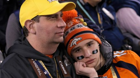 Denver Broncos fans are not happy. They sit in the stands after watching their team being defeated. Photograph: Andrew Kelly/Reuters