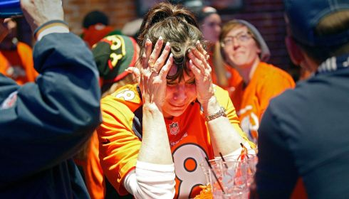 It is all too much for Denver Broncos fan Monica Ames. Photograph: Marc Piscotty/Reuters