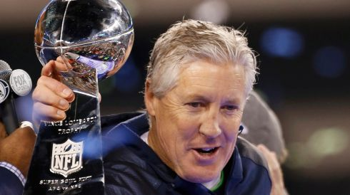 Seattle Seahawks head coach Pete Carroll shows off the Vince Lombardi trophy.Photograph: Tim Farrell/Reuters