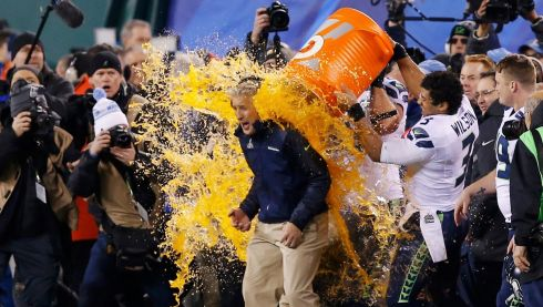Before head coach Pete Carroll gets gatorade dumped on him in celebration. Photograph: Eduardo Munoz/Reuters