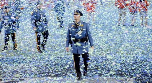 A New Jersey State Trooper walks through the falling confetti at the end of the game. Photograph: Eduardo Munoz/Reuters